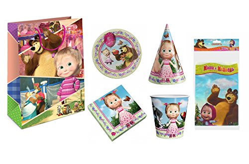 Masha and the Bear Set for Children's Holiday, Cartoon Characters supplies Party Ware Hats Pipes Plates Tablecloth Rose