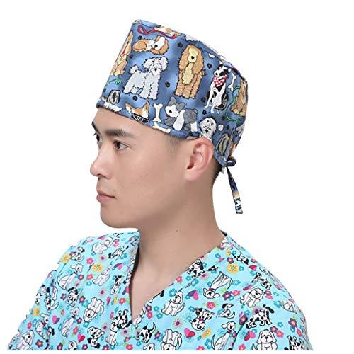Surgical Cap Scrub Cap Sweatband Medical Bouffant Cap Turban Cap Scrub Hat Head Cover Adjustable for Doctor Nurse Men Women