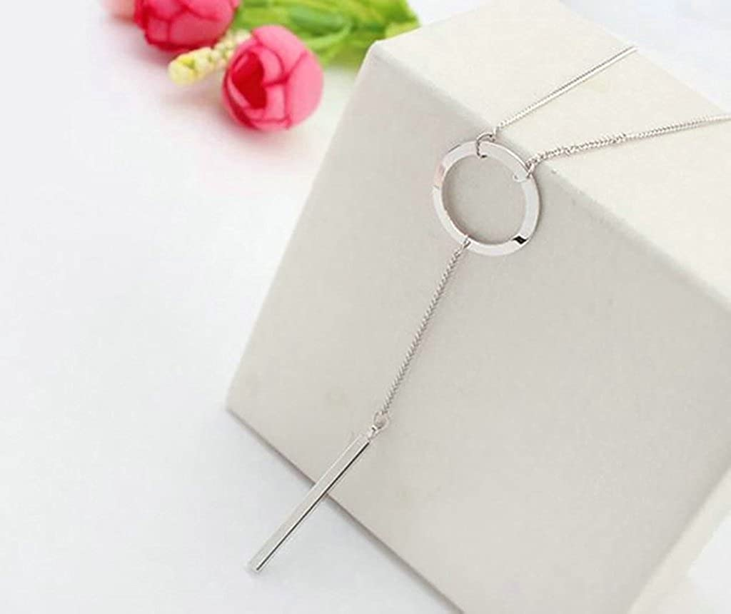 Gnzoe Women Long Jewelry Fashion Simple Circle Rectangle White Sweater Chain Necklace
