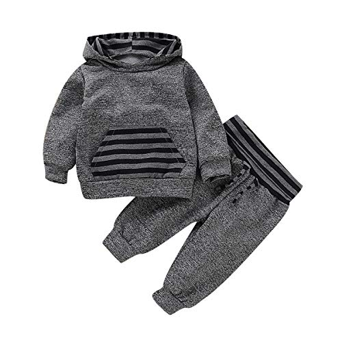 Happy Town Newborn Infant Baby Boys Hoodie Sweatshirt Striped Jacket Pants Set Fall Clothes Outfits (Gray, 0-3 Months) (Newborn Boy Jacket)