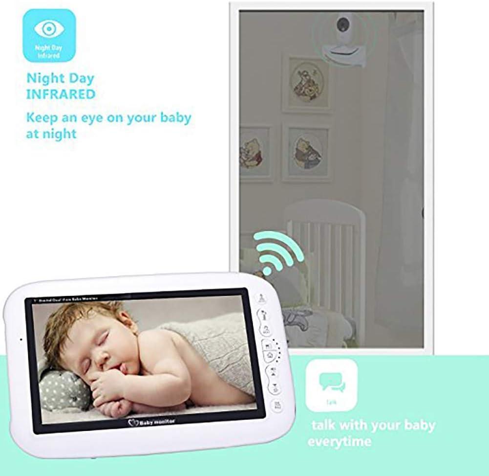 EMEBAY Two-Way Intercom System Night Vision and Temperature Sensor 2 Cameras Video Baby Monitor Wireless Camera 7.0 Inch 720P HD LCD Color Screen Split Screen
