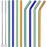 ALINK Reusable Glass Smoothie Straws, 10