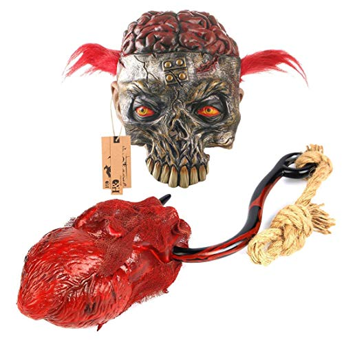 Hyaline&Dora Scary Halloween Masks Animal Skeleton With Bloody Brain and Cat Eyes,With 1pcs Horror Halloween Costume Party Props Ramdonly Sent ()