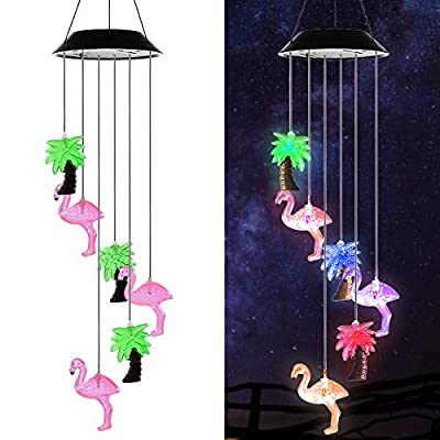 AceList Gzero Multi Color Solar Powered Wind Chime Mobile LED Light, Spiral Spinner Windchime Waterproof Portable Outdoor Chime for Patio, Deck, Yard, Garden, Home,Pathway ...