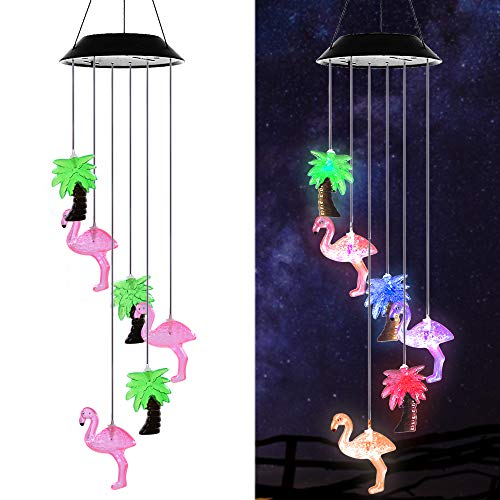 Gzero Changing Color Solar Powered Plastics Flamingo Tree Wind Chime Wind Moblie LED Light, Spiral Spinner Windchime Portable Outdoor Chime for Patio, Deck, Yard, Garden, - Lighted Palm Yard Outdoor Tree