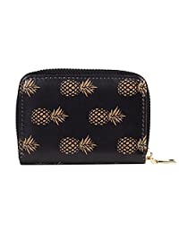 Fancy Women Card Case Floral Design Card Holder Printed Credit Card Wallets for Girls (Gold Pineapple)