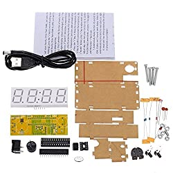 WINGONEER 4-Digit DIY LED Electronic Clock Kit Microcontroller 0.8inch Digital Tube Clock with Thermometer Hourly Chime Function DIY Kit Module - Red