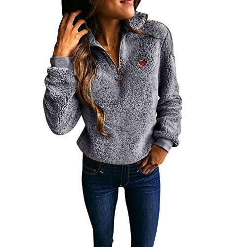 Besooly Women Plus Size Hooded Jacket Coat Long Zipper Sweatshirt Irregular Zipper Casual Winter Hoodies Outwear Tops (XXL, Gray 2) ()