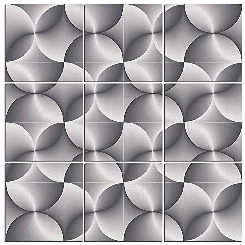 Clock Tile Black Decorative (VAMIX 9 Pieces Black and White Canvas Wall Art,Half Toned Abstract Circles Wavy Lines Modern Technology Themed Tile Decorative,60