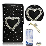 STENES Galaxy S9 Plus Case - 3D Handmade Heart Wallet Card Slots Fold Leather Cover Case Butterfly Dust Plug,Screen Protector for Samsung Galaxy S9 Plus - Black