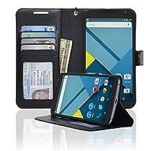 Navor LG Google Nexus 6 Folio Wallet Leather Case for Cards & Money Pockets, ID Window (Black)