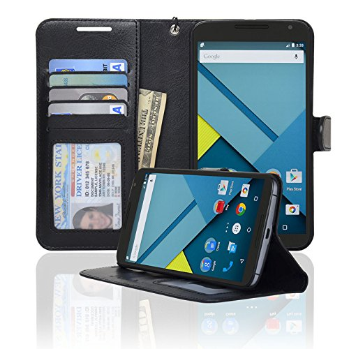 Navor LG Google Nexus 6 Folio Wallet Leather Case for Cards & Money Pockets, ID Window (Black)