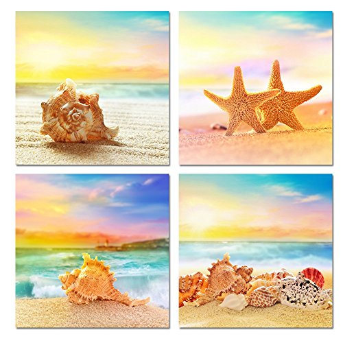 Sea Charm - Seaview Modern Seascape Giclee Canvas Prints Artwork Seashell on Beach Landscape Pictures to Photo Paintings on Canvas Wall Art for Home Decorations Wall Decor 4pcs/set (12