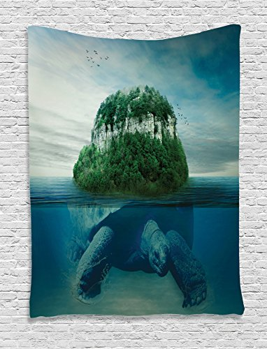 Ambesonne Sea Animals Decor Collection, Giant Turtle Carrying Island on Back Swimming under the Ocean Fantasy Photo Pattern, Bedroom Living Room Dorm Wall Hanging Tapestry, Green Gray by Ambesonne