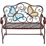 Alpine Corporation Butterfly Garden Bench - Outdoor Decor for Backyard, Patio, Deck, Garden - Bronze