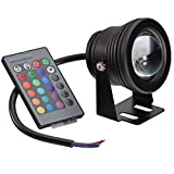 GOESWELL RGB LED Underwater Flood Light Waterproof 10w DC12v Memory Function Multi-color Outdoor Garden Spotlight Landscape Fountain Pond Lamp Bulb