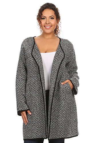 Women's Plus Size Open Front Light Weight Black Woven Jacket (Sexy Plus Size Blazers)