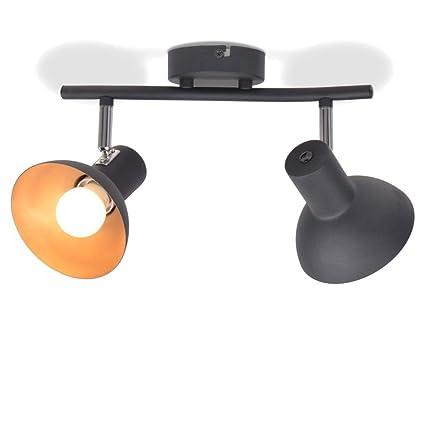 Lámpara de Techo para 2 Bombillas E27 Negra y Dorada ...