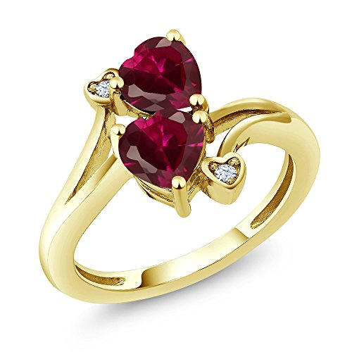 Gem Stone King 1.95 Ct Heart Shape Red Created Ruby 10K Yellow Gold Ring (Size 7)