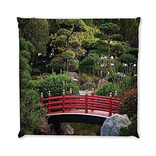 Apartment Decor Comfortable Square Chair Pad,Tiny Bridge Over Pond Japanese Garden Monte Carlo Monaco Along with Trees and Plants Decorative for Bedroom Living Room,17.7