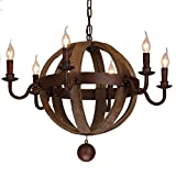 Lovedima Farmhouse Weathered Wooden Globe 6-Light Candle Style Nostalgic Chandelier Metal Rust For Sale