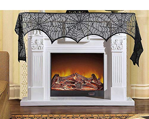 Orgrimmar Spiderweb Halloween Door Cover Decoration Black Lace Cobweb Fireplace Mantle Scarf Halloween Party Supplies 96 x 18 inch ()