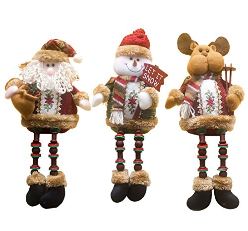 3PCS/Set Super Cute Christmas Plush Toy Long Leg Sitting Santa Clause Snowman Reindeer Doll Christmas Ornaments A ()