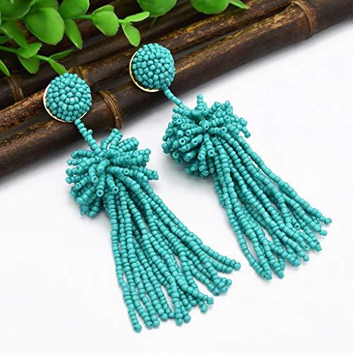 (Maikouhai 1 Pair of Earrings, Vintage Rice Beads Geometric Tassel Multicolor Earrings Pendant Ladies Women Jewelry for Weddings, Parties, Appointments - Alloy (Green))