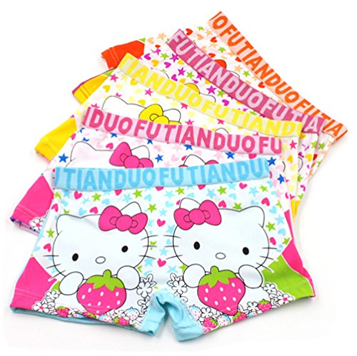 2-8 Years Girls Hellokitty Boyshort Panties Cotton Underwear for Dresses 5 Pack