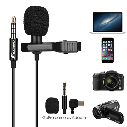 Lavalier Microphone, Foxnovo Lapel Microphone Omnidirectional Mic for iOS and Android Devices, Dslr, Cameras, Digital Recorders and Computers