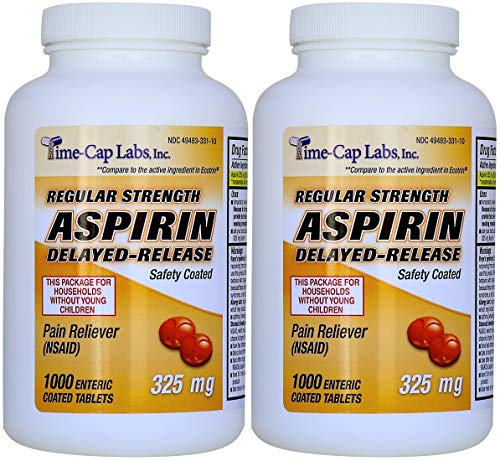 Aspirin 325 Mg Tab - Aspirin Adult Regular Strenght Enteric Coated 325 mg Generic for Ecotrin Bayer Aspirin 1000 Tablets Per Bottle Pack of 2
