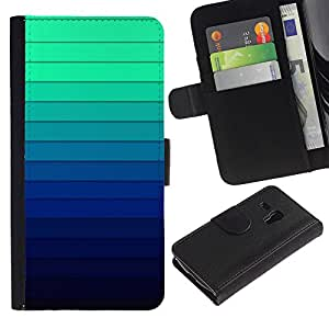 LASTONE PHONE CASE / Lujo Billetera de Cuero Caso del tirón Titular de la tarjeta Flip Carcasa Funda para Samsung Galaxy S3 MINI NOT REGULAR! I8190 I8190N / Gradient Color Stripes Blue Green Light