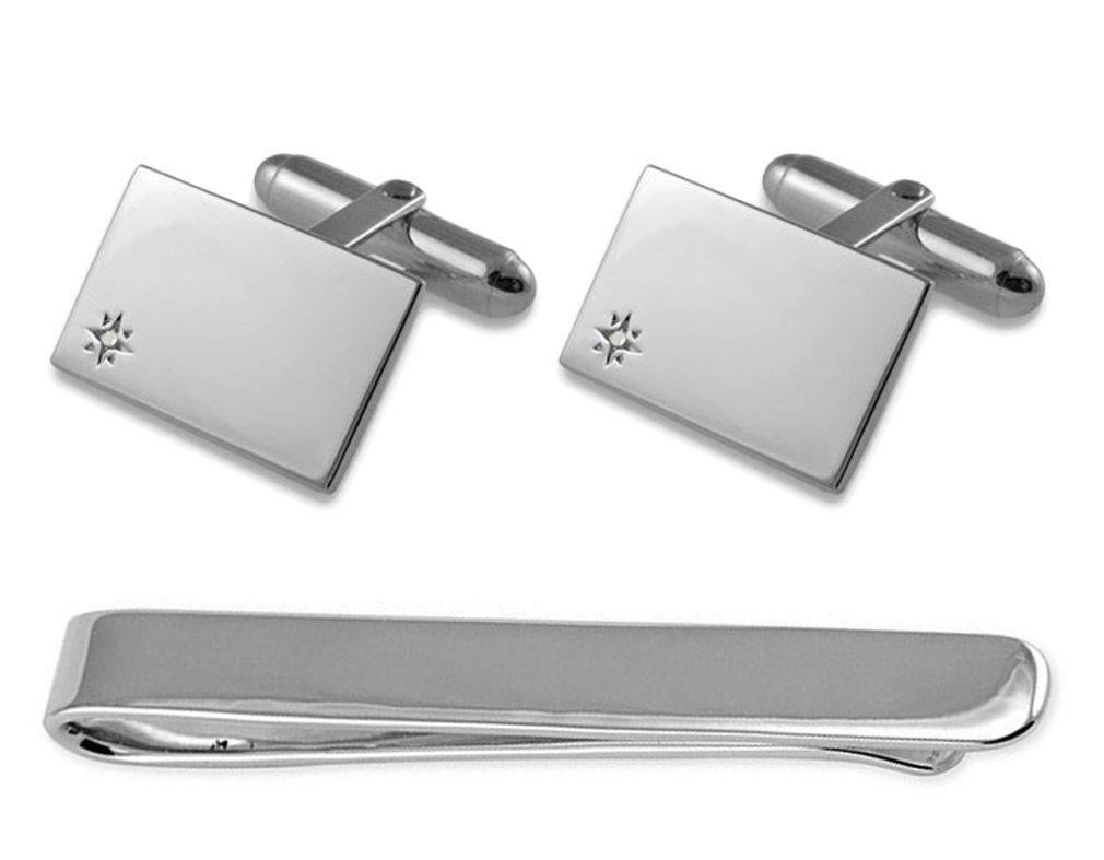 Sterling silver diamond Cufflinks Tie Clip Box Set