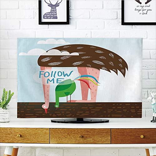 iPrint LCD TV Cover Multi Style,Quirky Decor,Ostrich and Rooster Eating on Roof Birds with Long Necks and Follow Me Label Decorative,Multicolor,Customizable Design Compatible 55