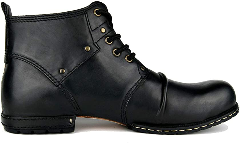 MERRYHE Herren Lace Up Echtes Leder Stiefeletten Vintage Große Größe Martin Boot Armee Militärische Taktische Desert Boots