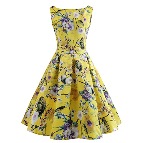 Wellwits Womens Floral Owl Animal Print Party Cocktail 1950s Vintage Dress