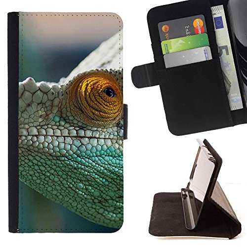 God Garden - FOR Apple Iphone 6 PLUS 5.5 - Chameleon Reptile Blur - Glitter Teal Purple Sparkling Watercolor Personalized Design Custom Style PU Leather Case Wallet Fli