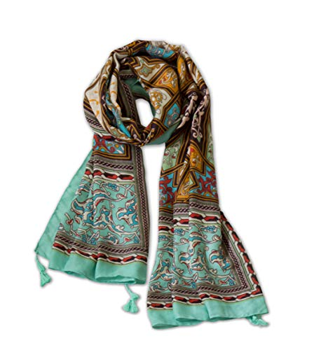 Cotton Scarf Long Lightweight Fashion Scarves for Women for Any Occasion or Season by Purple Expressions (Brown Green)