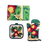 Mail Pack High Quality Cotton Oven Mitts+Heart Insulation Pad + Apron