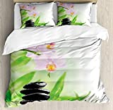 Spa Luxury Duvet Cover Set Soft Bedding Sets Twin Size - Include Flat Sheet Comforter Protector and Pillow Shams - Zen Basalt Stones and Orchid with Dew Peaceful Nature Theraphy Massage Meditation
