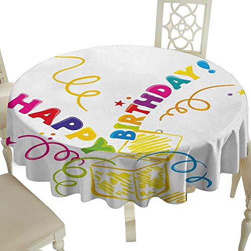 Spots round table cloth 50 Inch Birthday,Surprise in a Box Theme Doodle Style Cheerful Spirals Confetti and Stars Happiness,Multicolor Suitable for Party,outdoors,Farmhouse,coffee shop,restaurant More
