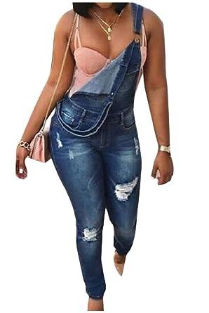 Andopa Bodysuit en dificultades Slim-cónicos Trajes Jeans ...
