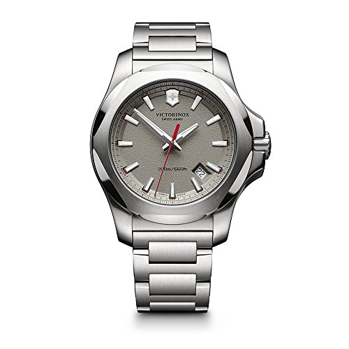 Date Swiss Automatic Watch - Victorinox Swiss Army Men's I.N.O.X. Swiss-Quartz Watch with Stainless-Steel Strap, Silver, 12 (Model: 241739.1)