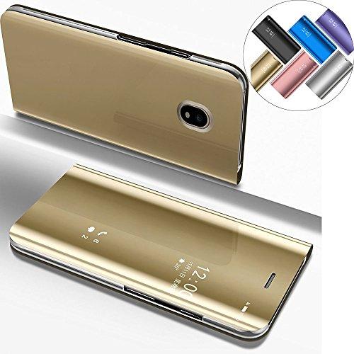 Funda Samsung Galaxy J3 2017 SM-J330 (EU Edition), Carcasas para Galaxy SM-J330 EMAXELERS Samsung Galaxy J3 2017 (EU Edition) Funda de lujo con espejo Caja de maquillaje con marco de cuero de la PU Fl Mirror PU : Gold