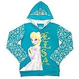 Disney Girls' Frozen Elsa Turquoise Hoodie, Turquoise, 4