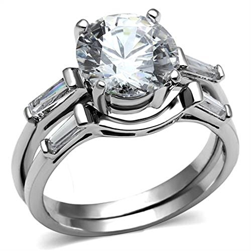 3.50 Ct Round Brilliant Cut CZ Stainless Steel Wedding Ring Set Womens Size 5-11