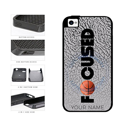 BleuReign(TM) Basketball Personalized Custom Name Focused 2-Piece Dual Layer Phone Case Back Cover For Apple iPhone 4 4s (Iphone Cases 4 Metal For Guys)