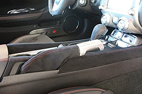 RedlineGoods ebrake Boot Compatible with Chevrolet Camaro 2010-15 Black Leather-Red Thread