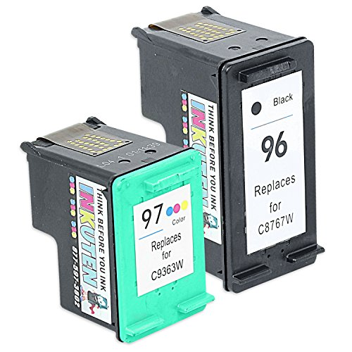 INKUTEN Remanufactured Ink Cartridge Replacement For Hewlett Packard HP 96 & HP 97 C9353FN C8767WN C9363WN (1 Black, 1 Tri-Color) 2-Pack Compatible With Deskjet 5740 5743 5745 5748 5940 6520 6540 6548 6620 6830 6840 6940 6980 6988 9800 Officejet 7210 7310