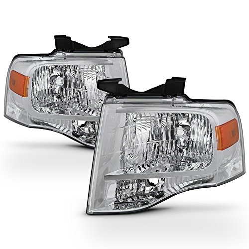 For 2007-14 Ford Expedition 4-Door SUV Headlights Assembly Chrome Housing Clear Lens Full Set - Ford Expedition Headlight Assembly
